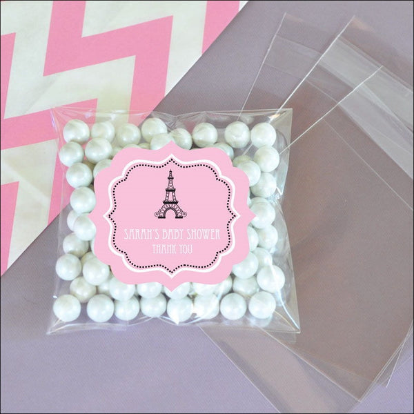 Personalized Paris Clear Candy Bags - Jaclyn Peters Designs