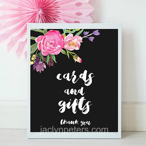 Cards And Gift Boho Floral Printable Bridal Shower Sign - Instant Download