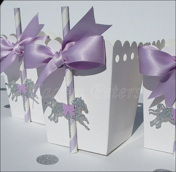 Carousel Horse Lavender & Silver Popcorn Boxes - Jaclyn Peters Designs - 1