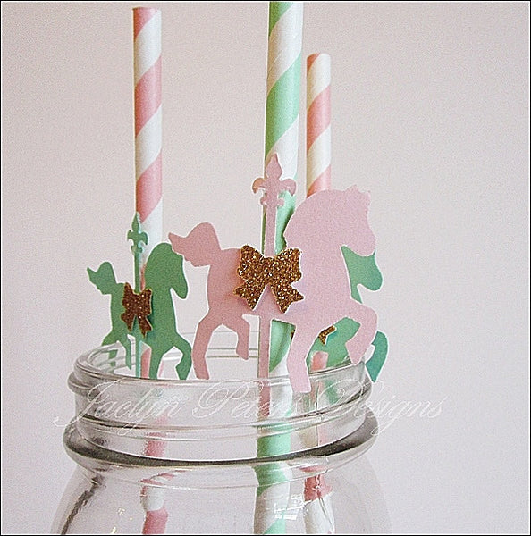 Vintage Baby Carousel Horse Party Straws - Jaclyn Peters Designs - 1