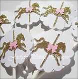 Carousel Birthday Party Cupcake Toppers - Jaclyn Peters Designs - 1