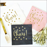 Cheers Gold Party Napkins Set of 50 - Jaclyn Peters Designs - 1
