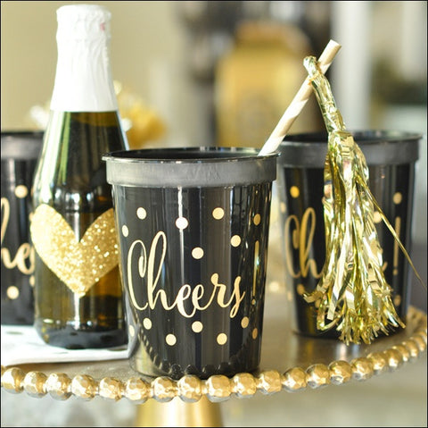 Black & Gold Cheers Party Cups Set of 25 - Jaclyn Peters Designs