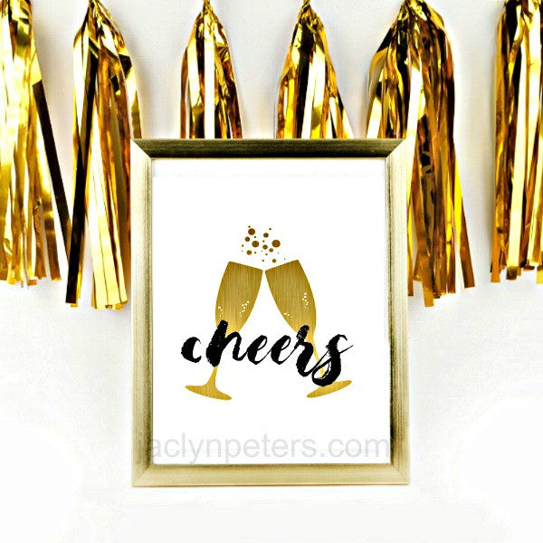 Cheers Gold Champagne Glasses Party Sign Print - Instant Download