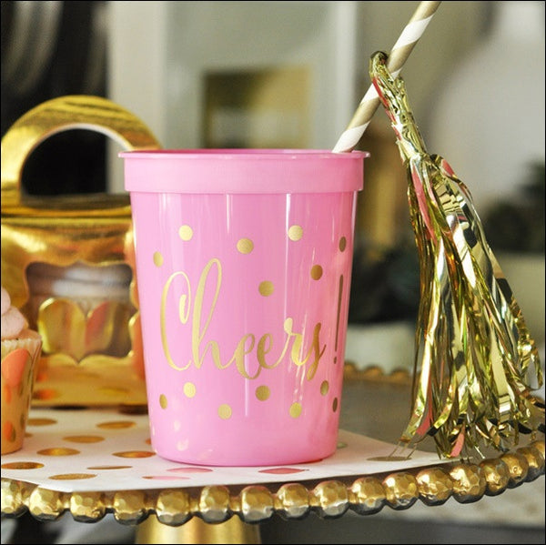 Pink & Gold Cheers Party Cups Set of 25 - Jaclyn Peters Designs