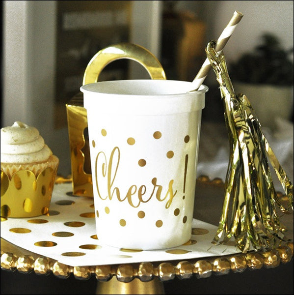 White & Gold Cheers Party Cups Set of 25 - Jaclyn Peters Designs