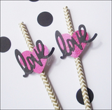 Gold Chevron Love Party Straws - Jaclyn Peters Designs - 1