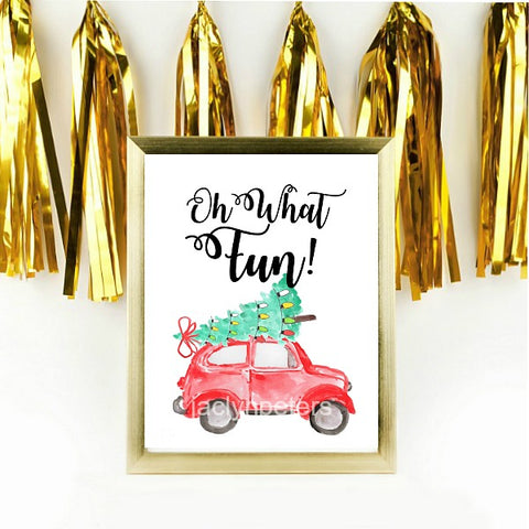 Oh What Fun Watercolor Christmas Party Printable Sign