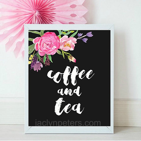 Coffee And Tea Boho Printable Bridal Shower Sign - Instant Download