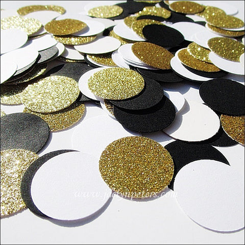 Black White & Gold Glitter Party Confetti