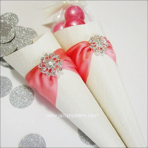 Coral & Ivory Favor Cones Set Of 25 - Jaclyn Peters Designs - 1