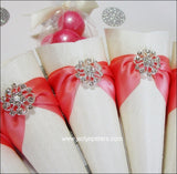 Coral & Ivory Favor Cones Set Of 25 - Jaclyn Peters Designs - 4