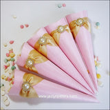 Elegant Pink & Gold Favor Cones Set Of 25 - Jaclyn Peters Designs - 3