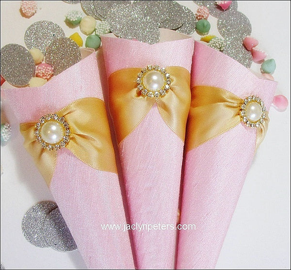 Elegant Pink & Gold Favor Cones Set Of 25 - Jaclyn Peters Designs - 1
