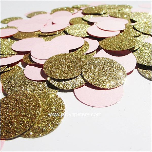 Blush Pink & Gold Glitter Confetti - Jaclyn Peters Designs - 1