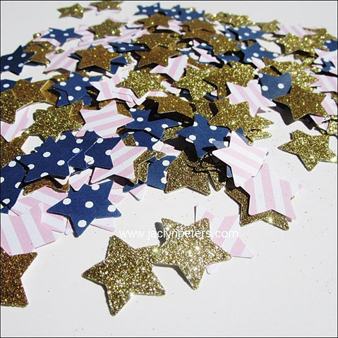 Navy & Pink Star Party Confetti - Jaclyn Peters Designs - 1