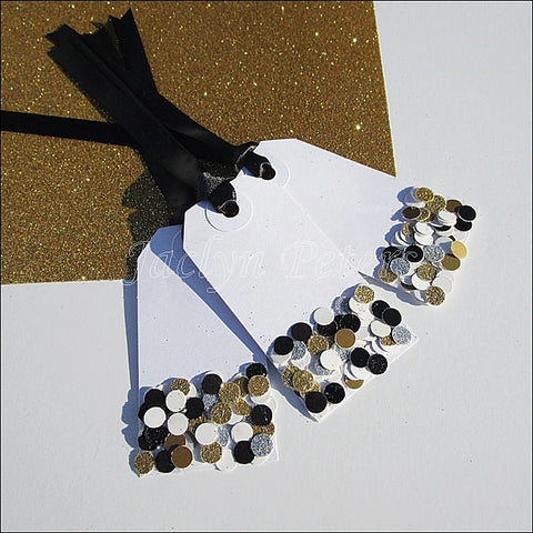 Black & Gold Confetti Gift Tags - Jaclyn Peters Designs - 1