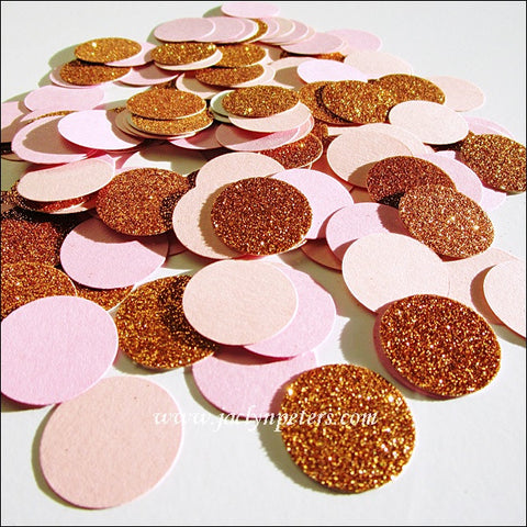 Blush, Rose & Copper Glitter Confetti - Jaclyn Peters Designs - 1