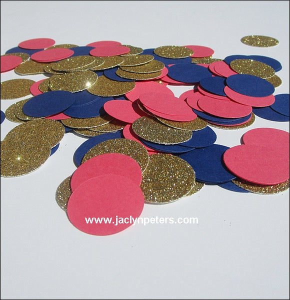 Coral, Navy & Gold Confetti - Jaclyn Peters Designs - 1