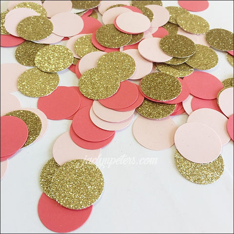 Coral, Blush Pink And Gold Glitter Party Confetti