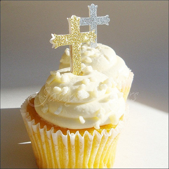 Glitter Cross Baptism Cupcake Toppers - Jaclyn Peters Designs