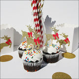 Christmas Reindeer Cupcake Toppers - Jaclyn Peters Designs - 1