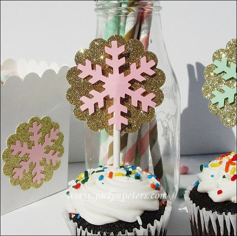 Gold Glitter Snowflake Cupcake Toppers - Jaclyn Peters Designs - 1
