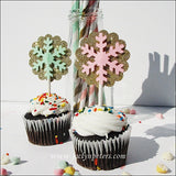 Gold Glitter Snowflake Cupcake Toppers - Jaclyn Peters Designs - 2