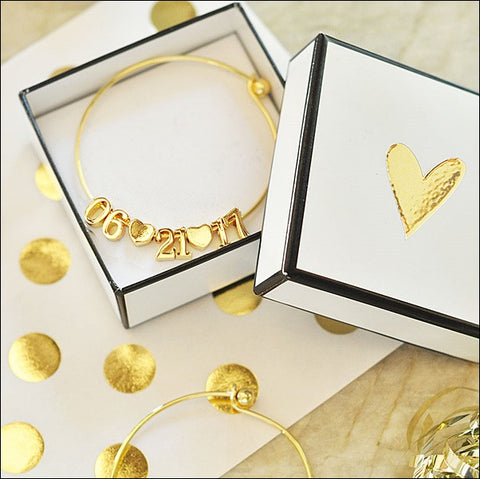 18K Gold Plated Wedding Date And Hearts Charm Bracelet