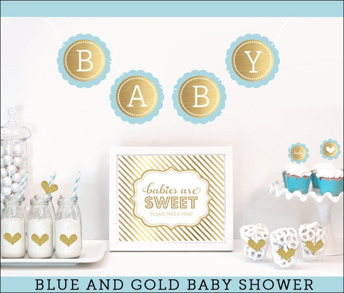 Blue gold baby shower party decor kit jaclyn peters party for A new little prince baby shower decoration kit