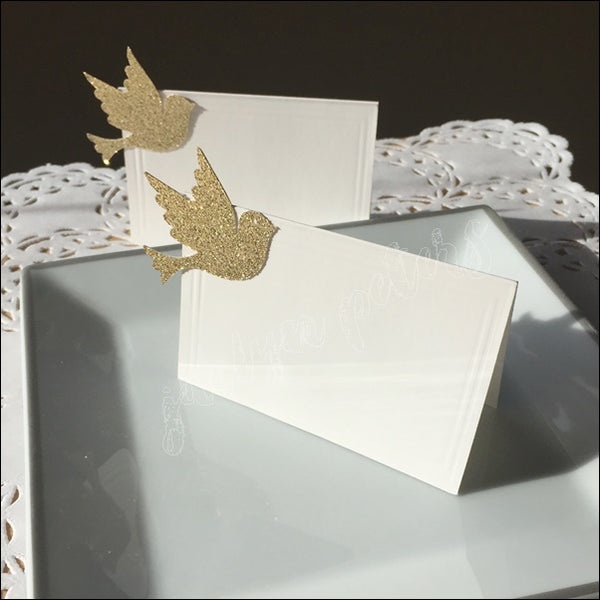 Glitter Baptism Doves Seating Place Cards