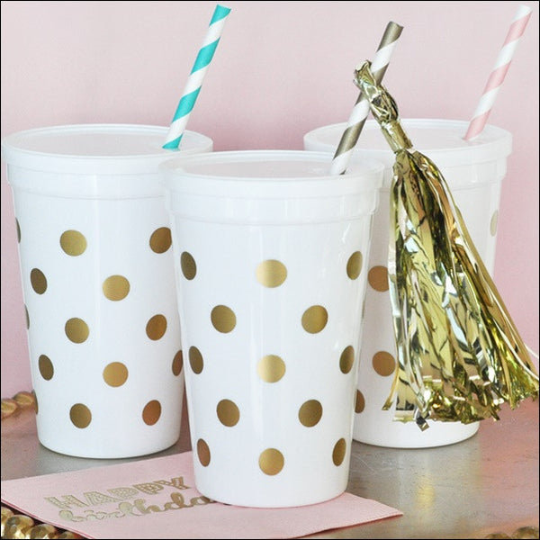 White & Gold Dot Party Cups With Lids Set of 25 - Jaclyn Peters Designs - 1