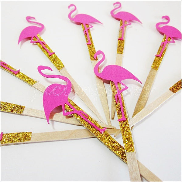Pink Flamingo Cupcake Toppers - Jaclyn Peters Designs - 1