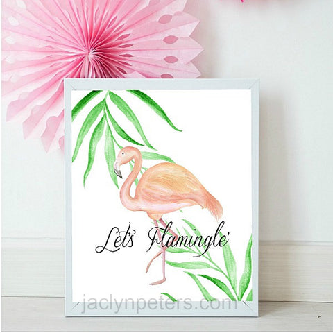 Lets Flamingle Pink Watercolor Flamingo Party Sign - Printable Instant Download
