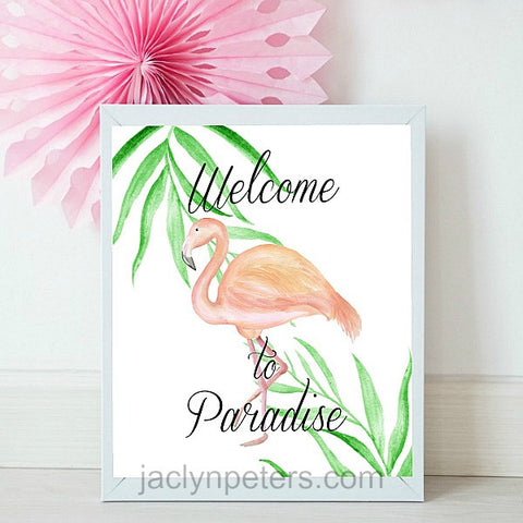 Welcome To Paradise Watercolor Pink Flamingo Party Sign - Printable Instant Download