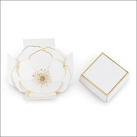 White And Gold Flower Bloom Favor Box Set Of 10