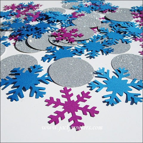 Purple, Blue & Silver Snowflake Confetti - Jaclyn Peters Designs - 1