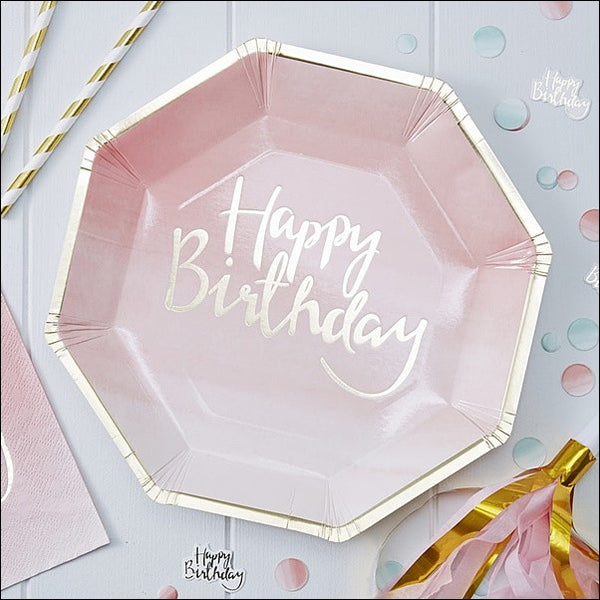 Pink & Gold Happy Birthday Plates - Jaclyn Peters Designs