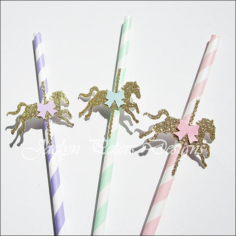 Gold Glitter Carousel Horse Party Straws - Jaclyn Peters Designs - 1