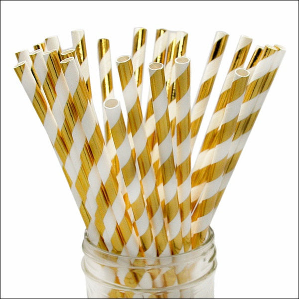 Gold Foil Stripe Party Straws - Jaclyn Peters Designs