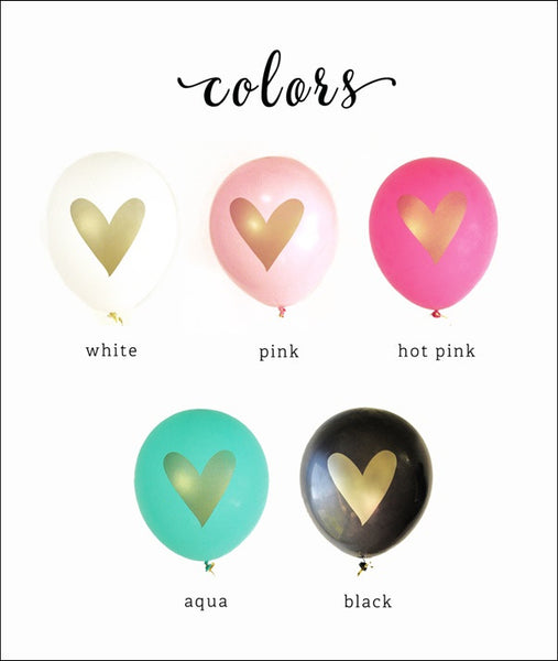 Gold Heart Balloons Set Of 6 - Jaclyn Peters Designs - 1