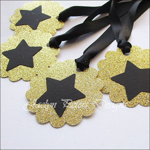 Black & Gold Glitter Star Favor Tags - Jaclyn Peters Designs - 1