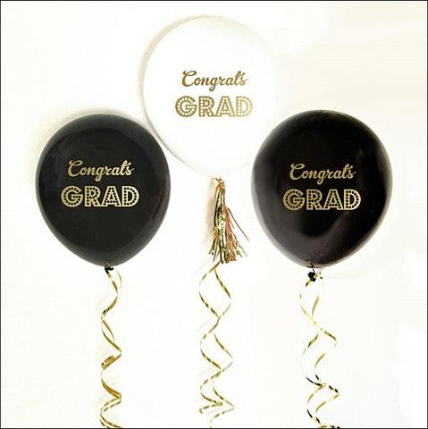 Gold Congrats Grad Party Balloons Set Of 6 - Jaclyn Peters Designs