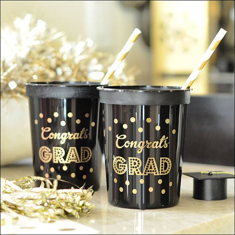 Black & Gold Graduation Party Cups Set of 25 - Jaclyn Peters Designs - 1