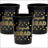Black & Gold Graduation Party Cups Set of 25 - Jaclyn Peters Designs - 2