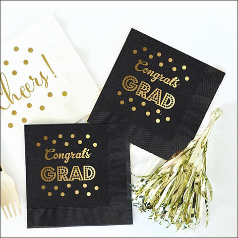 Black & Gold Graduation Party Napkins Set of 50 - Jaclyn Peters Designs - 1