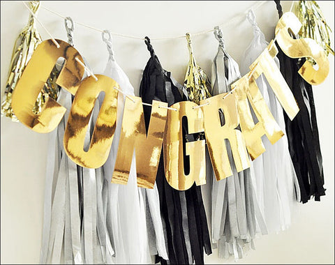 Congratulations Black & Gold Tassel Garland - Jaclyn Peters Designs - 1