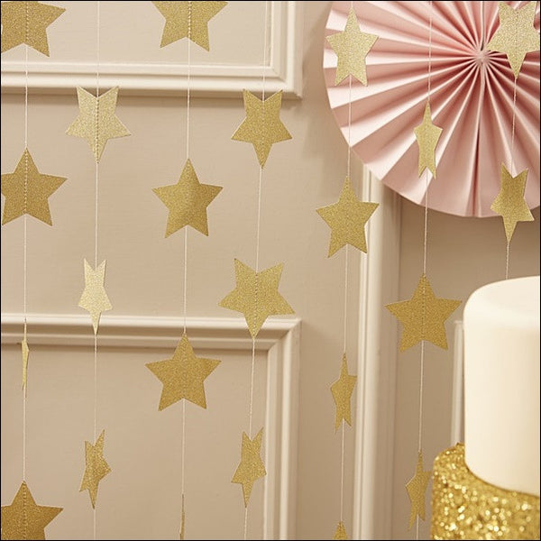 Gold Stars Hanging Party Garland - Jaclyn Peters Designs