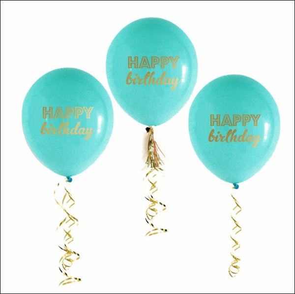 Aqua & Gold Happy Birthday Balloons Set Of 6 - Jaclyn Peters Designs
