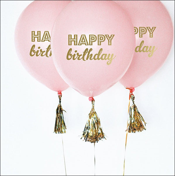 Pink & Gold Happy Birthday Balloons Set Of 6 - Jaclyn Peters Designs